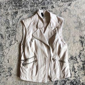 White leather vest